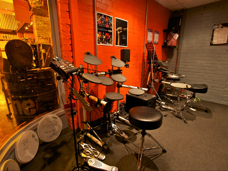 Drumstars drum lessons drumming booth at Drumshop
