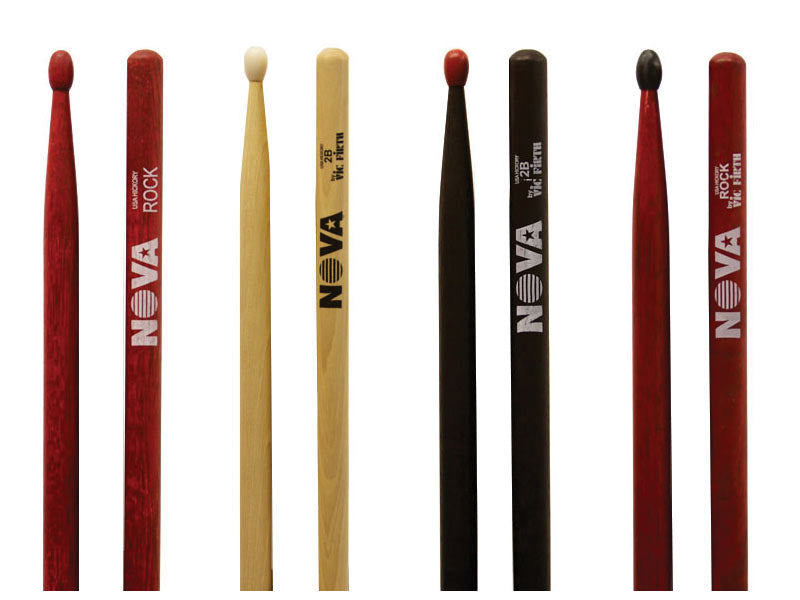 Vic Firth Nova Drumsticks Selection, BLack, Red, Natural, Wood and Nylon tips
