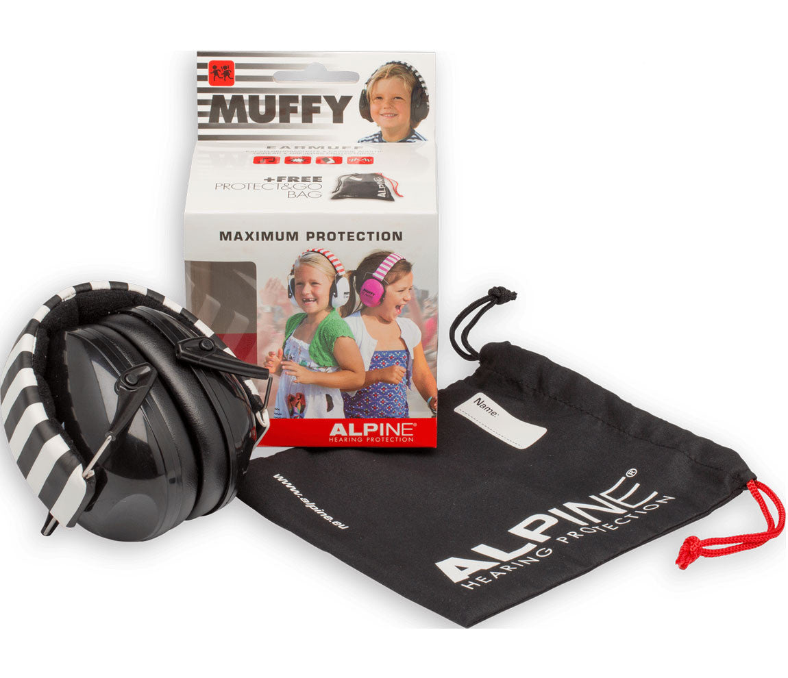 Alpine Earmuffy For Kids - Black & White