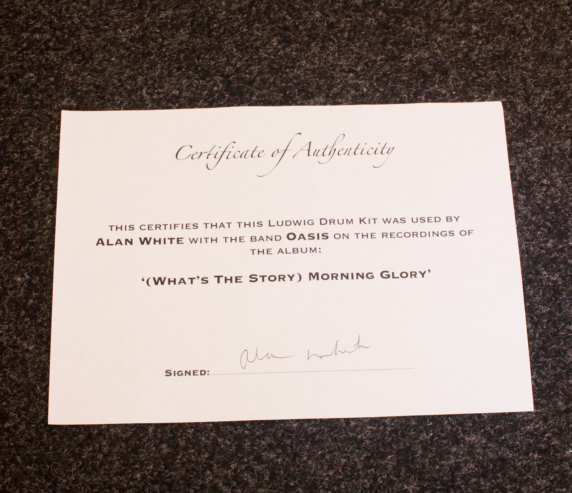 Oasis Alan White Certificate of Authenticity Whats the Story Morning Glory