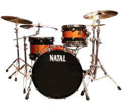 Natal 'The Originals' Split Lacquer 3-Piece Maple Shell Pack in Piano Black/Orange Sparkle