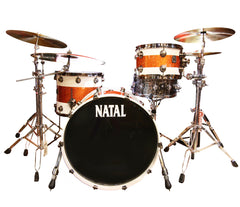 Natal 'The Originals' Split Lacquer 3-Piece Maple Shell Pack in White/Orange Sparkle