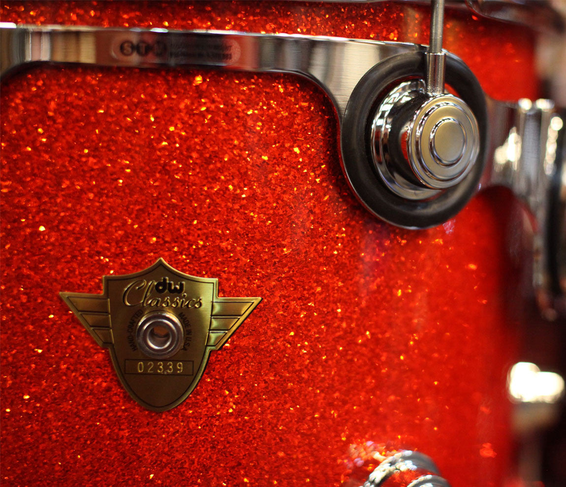 Drum Workshop Classic Series 3-Piece Shell Pack in Tangerine Glass Close Up Badge