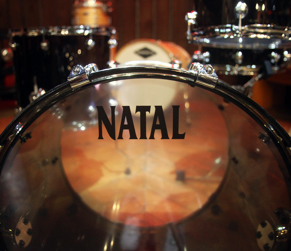 Natal Arcadia Acrylic 3-Piece Shell Pack in Transparent Smoke Grey Acrylic Finish, Natal, Drum Kits, Transparent Smoke Grey Acrylic, 22