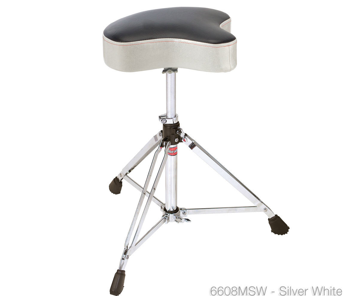 6608MSW Gibraltar 6608 Moto Top Silver White Drum Throne