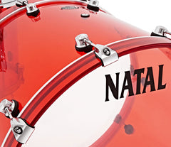 Natal Arcadia Arcylic 3-Piece Shell Pack in Transparent Red Acrylic Finish, Natal, Transparent Red Acrylic, Acrylic, Red, Acoustic Drum Kits, Drum Lounge