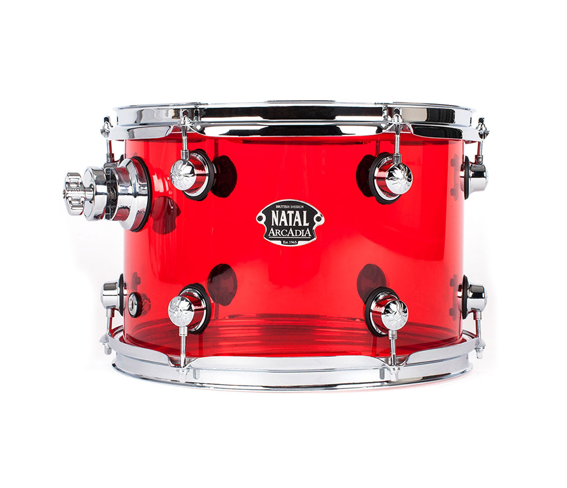 Natal Arcadia 4-Piece Shell Pack in Transparent Red Acrylic Finish, Natal, Drum Lounge, Acoustic Drum Kits, Natal Drums, Rock Kit, Transparent Red