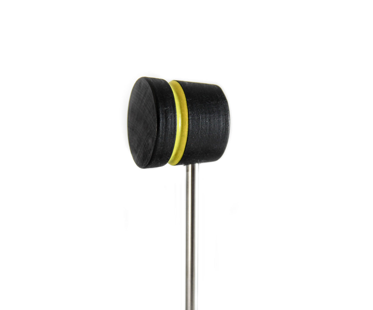 Low Boy Stained Black with Yellow Stripe Lightweight Bass Drum Beater (LW-LW-BY)