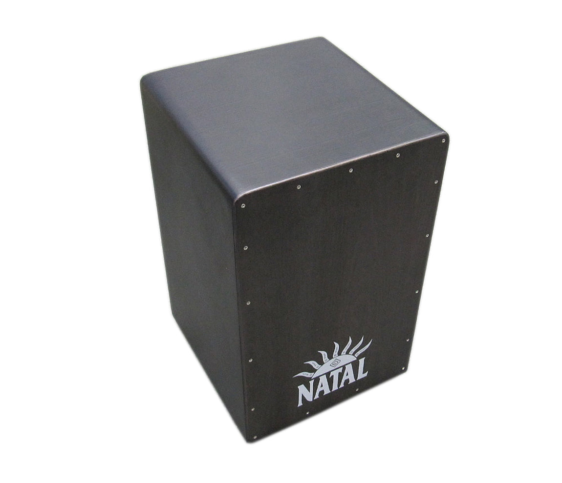 Black Cajon Black Panel, CJAN-L-SW-BB, White Natal Logo, Vendor: Natal, Type: Cajons, Finish: Black Surface, Natal Percussion