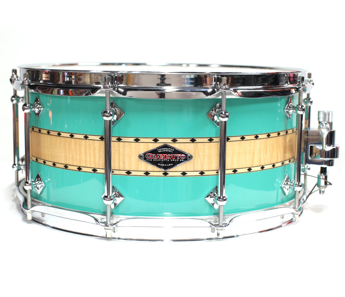 Craviotto Stacked Solid Sea Foam Snare Drum - Maple/Curly/Maple