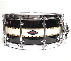 Craviotto Custom Tuxedo Snare Drum - Black/Abalone/Black