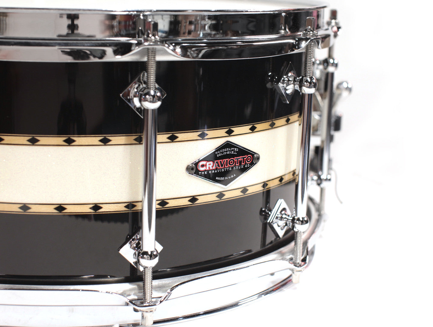 Craviotto Stacked Solid Snare Drum - Black/Abalone/Black