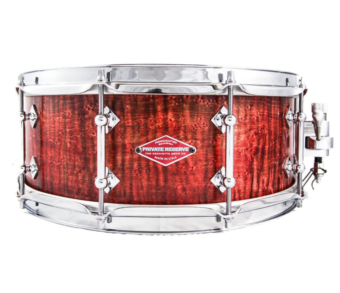Craviotto Private Reserve Series Snare Drum in Red Stain, Craviotto, Private Reserve, Snare Drums, Finish: Red Stain