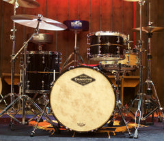 Craviotto 3-Piece Shell Pack in Gloss Black with Walnut inlays 45's