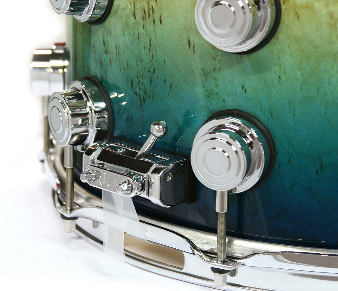 DW Exotic Kurillian Birch Regal to Royal to Natural Fade Snare Drum Throw Off