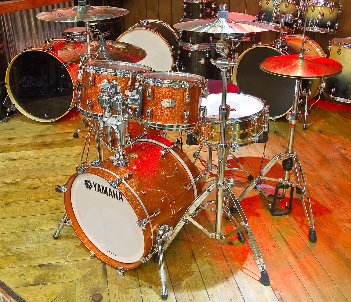 Yamaha absolute hybrid maple 4 piece shell pack in orange for Classic house drums