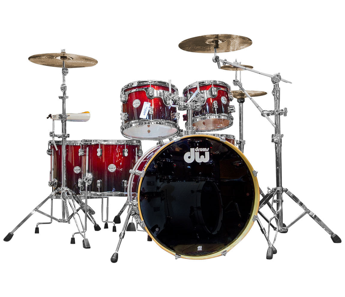 DW PDP Concept Maple 6-Piece Red to Black Sparkle drum kit