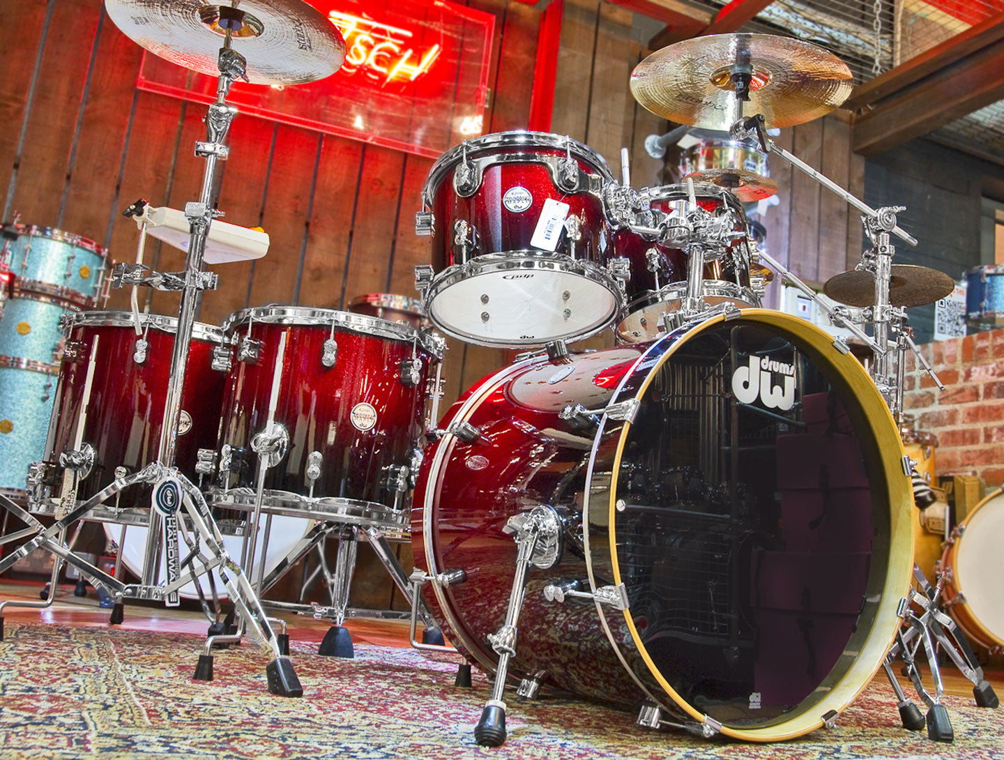 DW PDP Concept Maple Drum Kit in Red to Black Fade