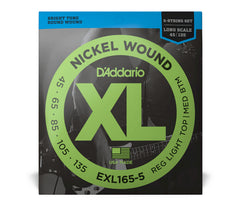 Daddario XL Nickel Wound Electric Bass Guitar Strings - Custom Light 5-String Set
