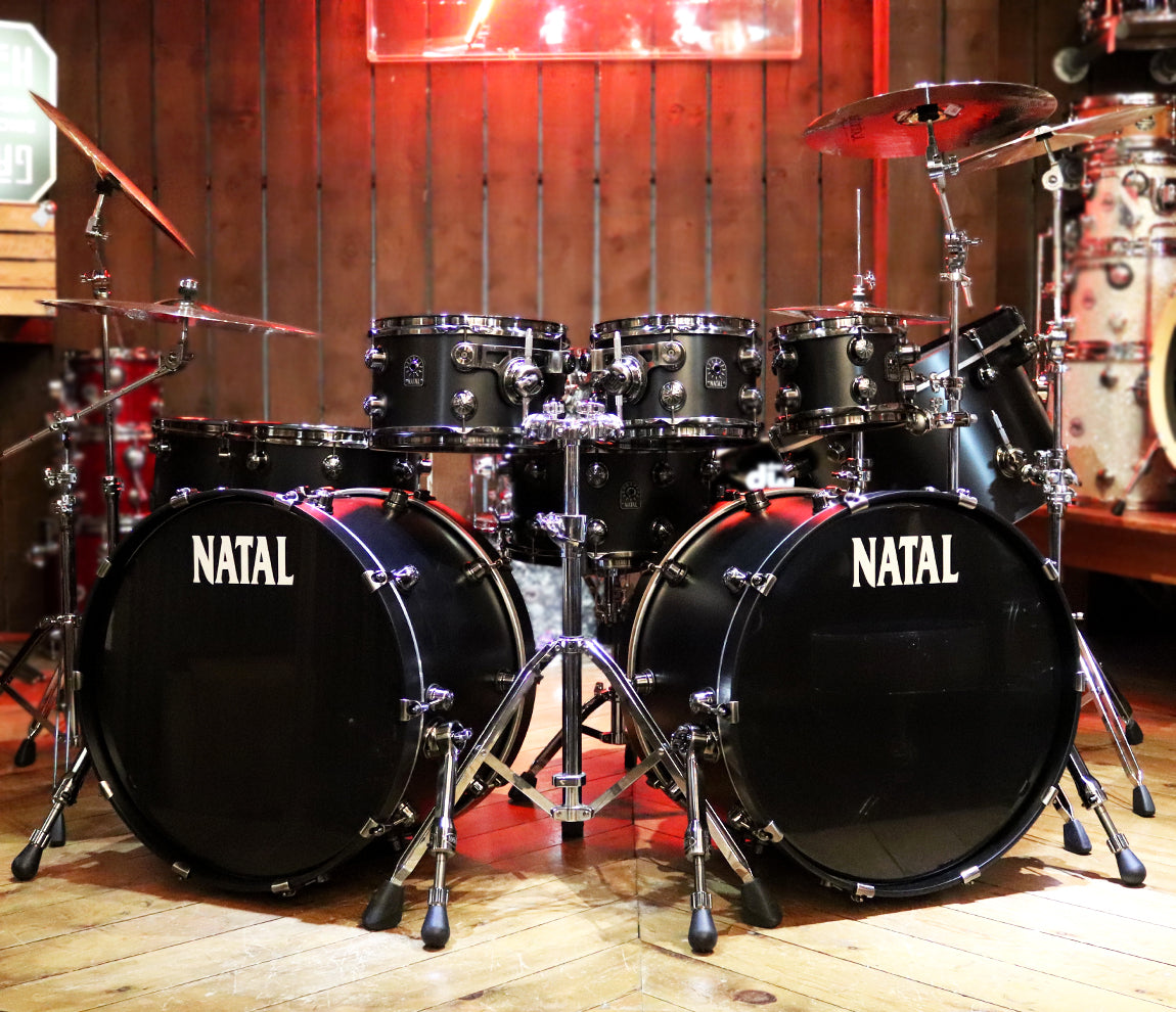 Natal 'The Beast' Matte Black Double Bass Drum Kit