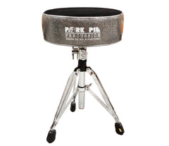 Pork Pie Round Drum Throne in Charcoal Sparkle with Flat Black Top inc. Base