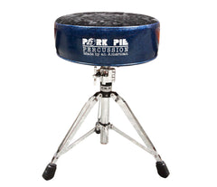 Pork Pie Round Drum Throne in Blue Sparkle with Black Crushed Velvet Top inc. Base