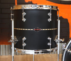 Pre-Loved Craviotto Custom Shop 3-Piece Flat Black Lacquer With Maple Inlay, Craviotto, Black, Pre Loved Drum Kits, 18