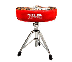 Pork Pie Big Boy Drum Throne Red Sparkle with Leopard Top inc. Base