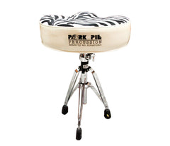 Pork Pie Big Boy Drum Throne Silver Sparkle with Zebra Top inc. Base