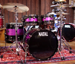 Natal 'The Originals' Split Lacquer UFX 4-Piece Shell Pack in Black & Pink Sparkle