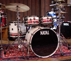 (Limited Edition) Natal 'The Originals' UFX Split Lacquer 4-Piece Shell Pack in Red Sparkle/Piano White
