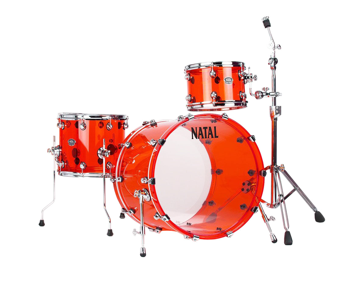 Natal Arcadia Arcylic 3-Piece Shell Pack in Transparent Red Acrylic Finish