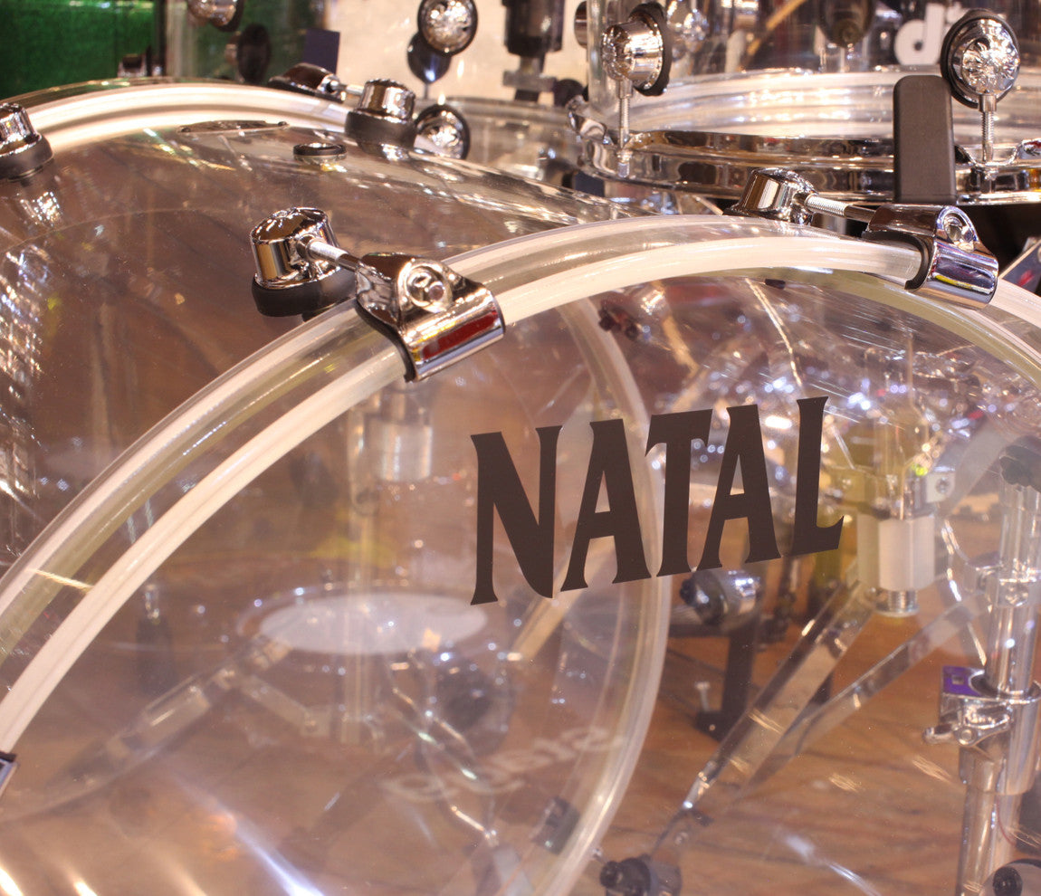 Natal Arcadia 3-Piece Shell Pack in Transparent Clear Acrylic Finish, Natal, Transparent Clear Acrylic, Acoustic Drum Kits, Acrylic