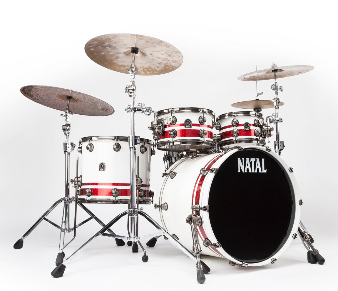 Natal Red and White Split Lacquer 4-Piece Drum Kit