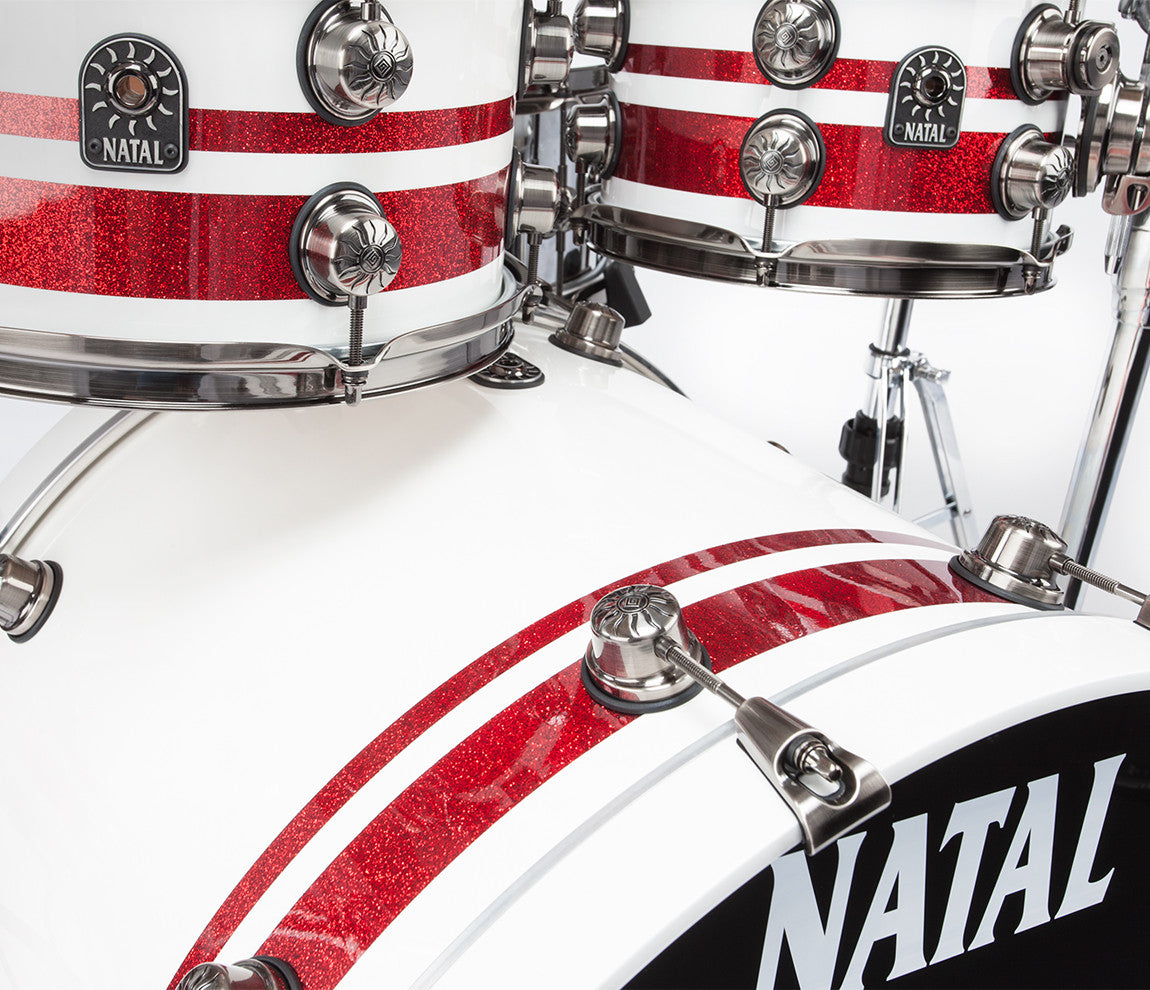 Natal Red and White Split Lacquer Drum Kit