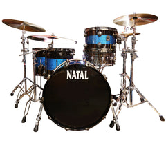 Natal 'The Originals' Split Lacquer TRC 4-Piece Maple Shell Pack in Black Sparkle/Blue Sparkle