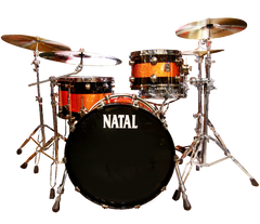 Natal 'The Originals' Split Lacquer TRC 4-Piece Maple Shell Pack in Piano Black/Orange Sparkle