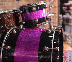 Natal 'The Originals' Split Lacquer TRC 4-Piece Shell Pack in Black & Pink Sparkle