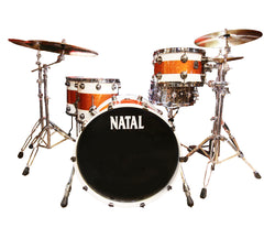 Natal 'The Originals' Split Lacquer TRC 4-Piece Maple Shell Pack in White/Orange Sparkle
