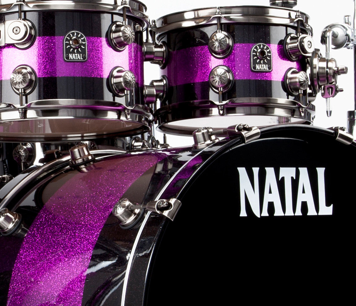 Natal Purple and Black Drum Kit - Pink Sparkle