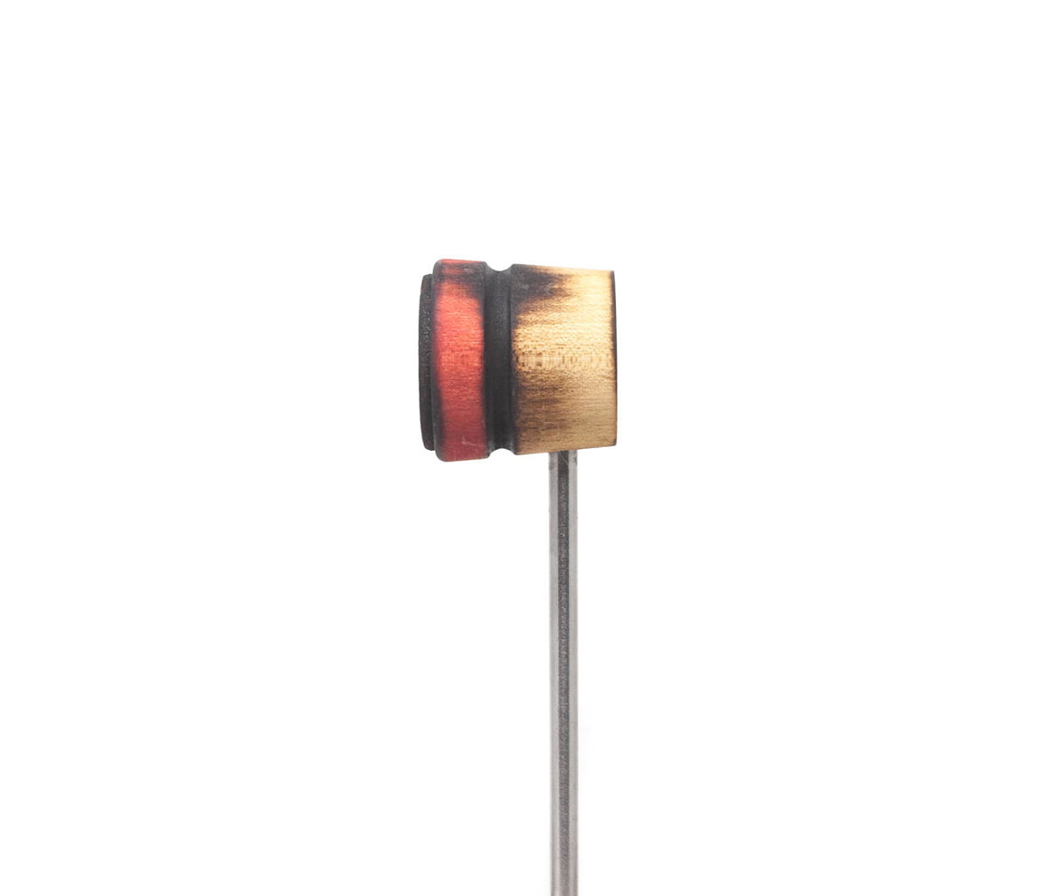 Low Boy Scorched Natural/Red with Black Stripe Lightweight Leather Daddy Bass Drum Beater (LB-LW-SCOR-NRS)