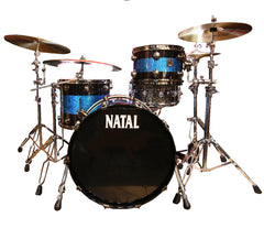 Natal 'The Originals' Split Lacquer 3-Piece Maple Shell Pack in Black Sparkle/Blue Sparkle