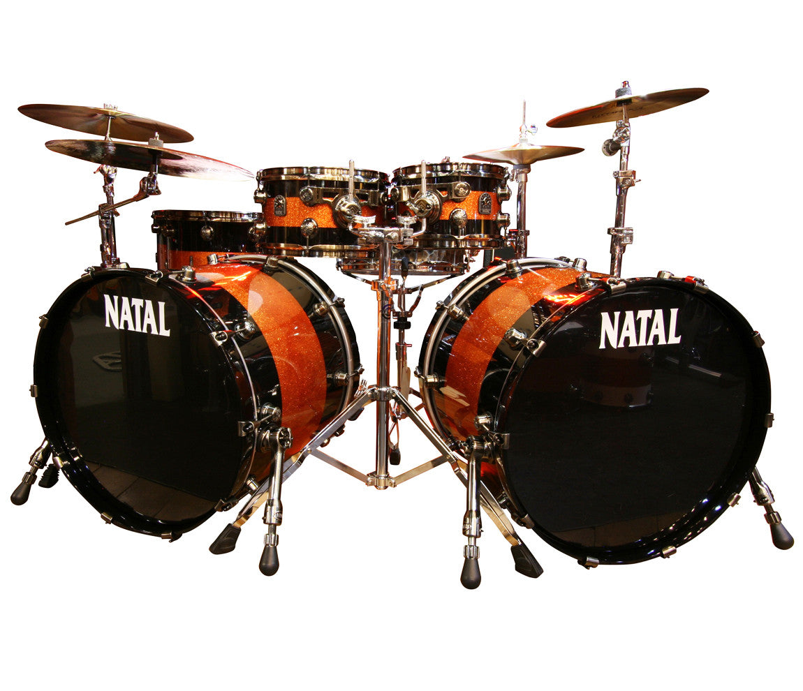 Natal 'The Originals' Split Lacquer 6-Piece Maple Double Bass Drum Shell Pack in Piano Black/Orange Sparkle