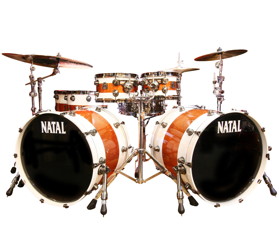 Natal 'The Originals' Split Lacquer 6-Piece Maple Double Bass Drum Shell Pack in White/Orange Sparkle