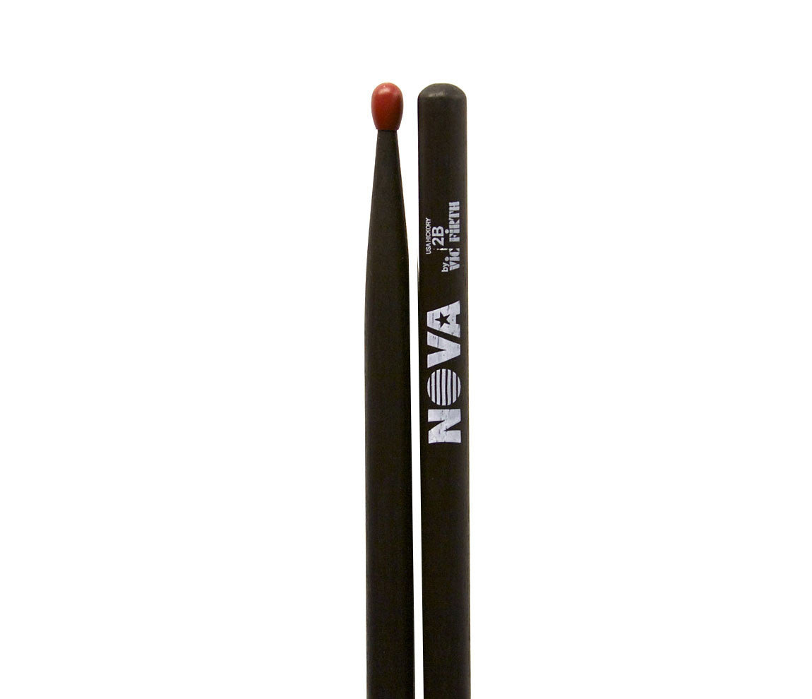 Vic Firth Nova 2B Drumsticks - Black Drumsticks Red Nylon Tip