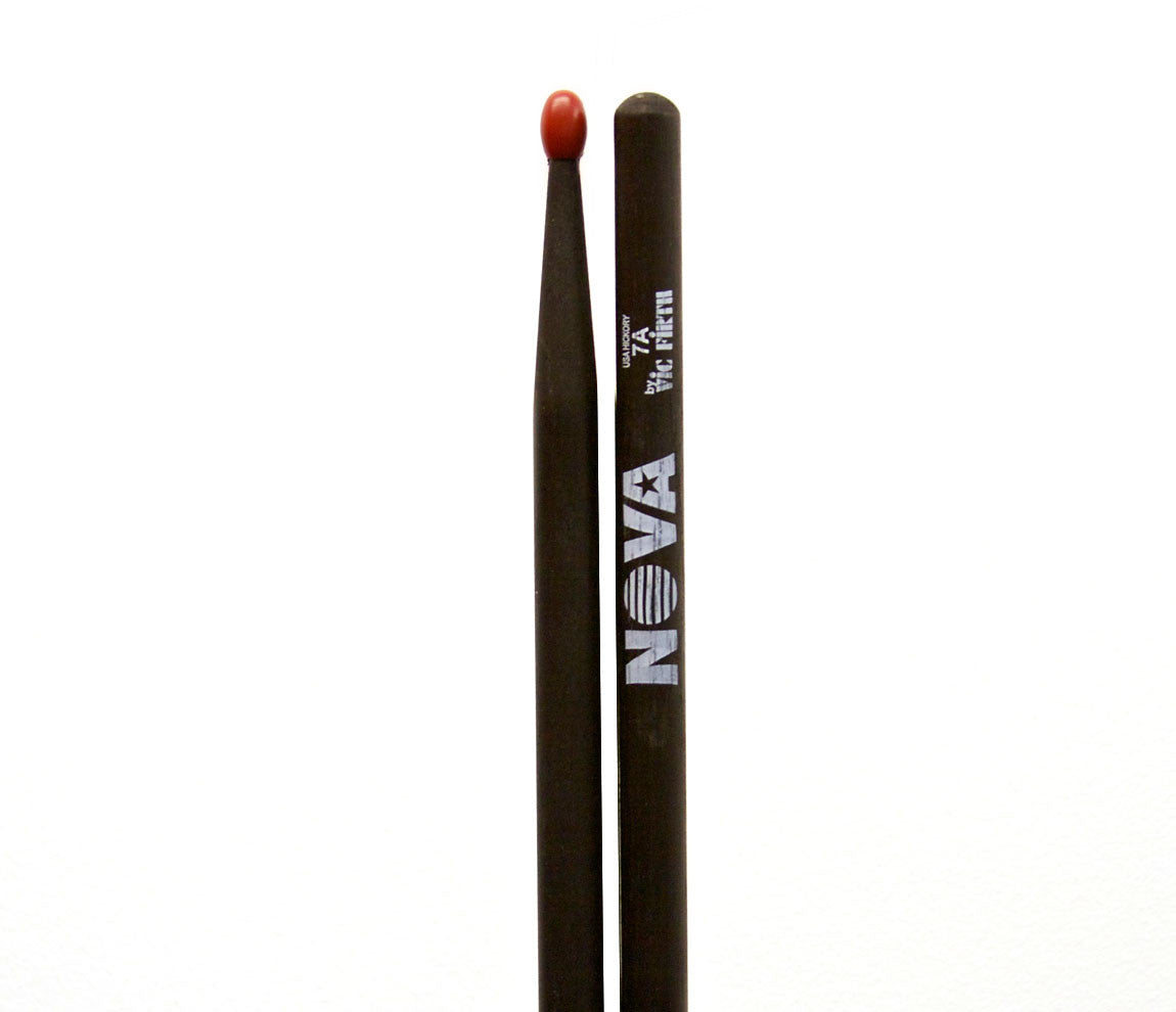 Vic Firth Nova 7A Drumsticks - Black Drumsticks Red Nylon Tip