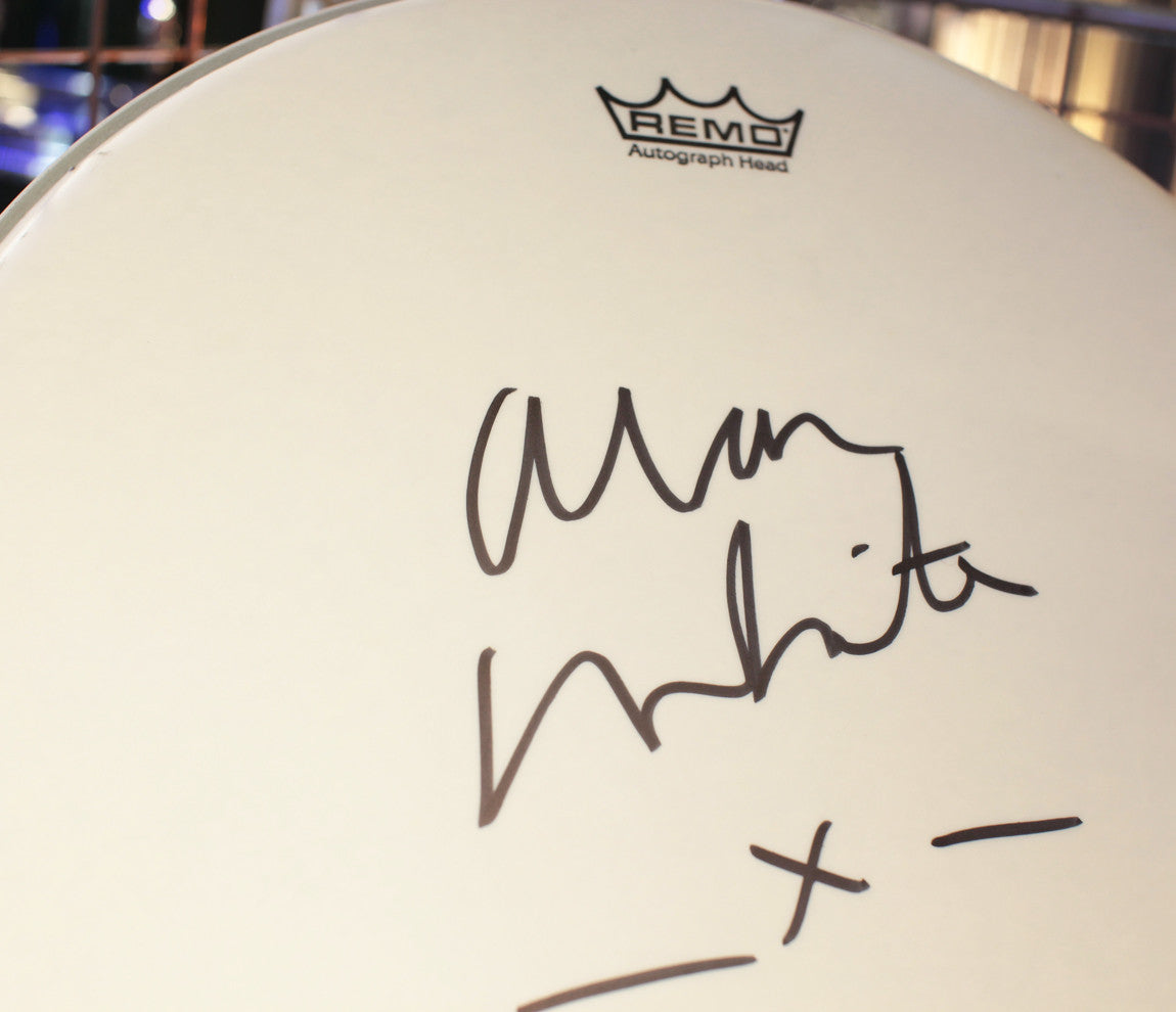 Alan White signed drum head