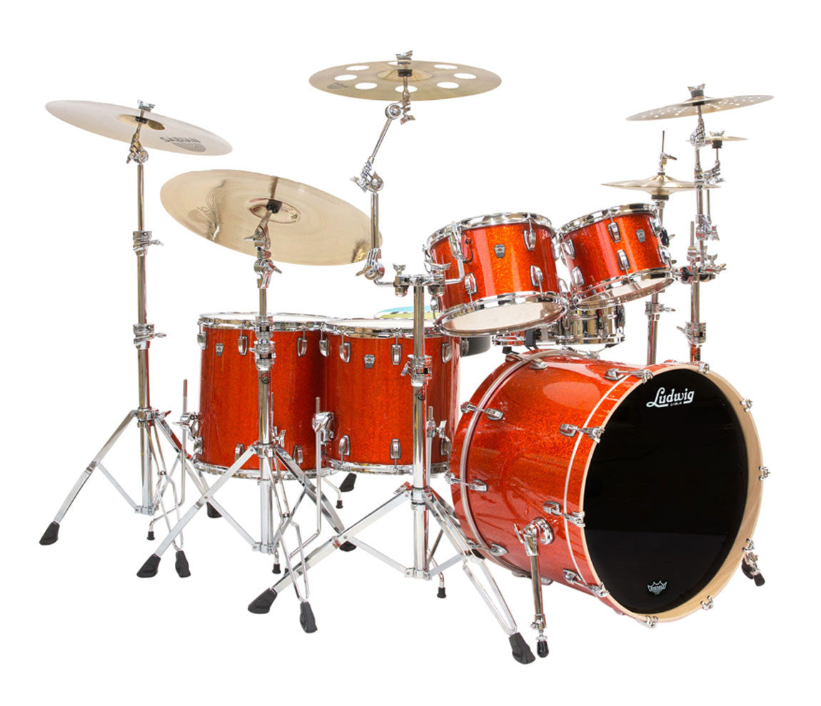 Ludwig Keystone X 4-Piece Shell Pack in Orange Sparkle