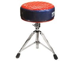 Pork Pie Deuce Blue & Red Diamond Tuck Drum Throne with Base