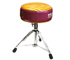 Pork Pie Deuce Purple / Gold Tuck & Roll Drum Throne with Base